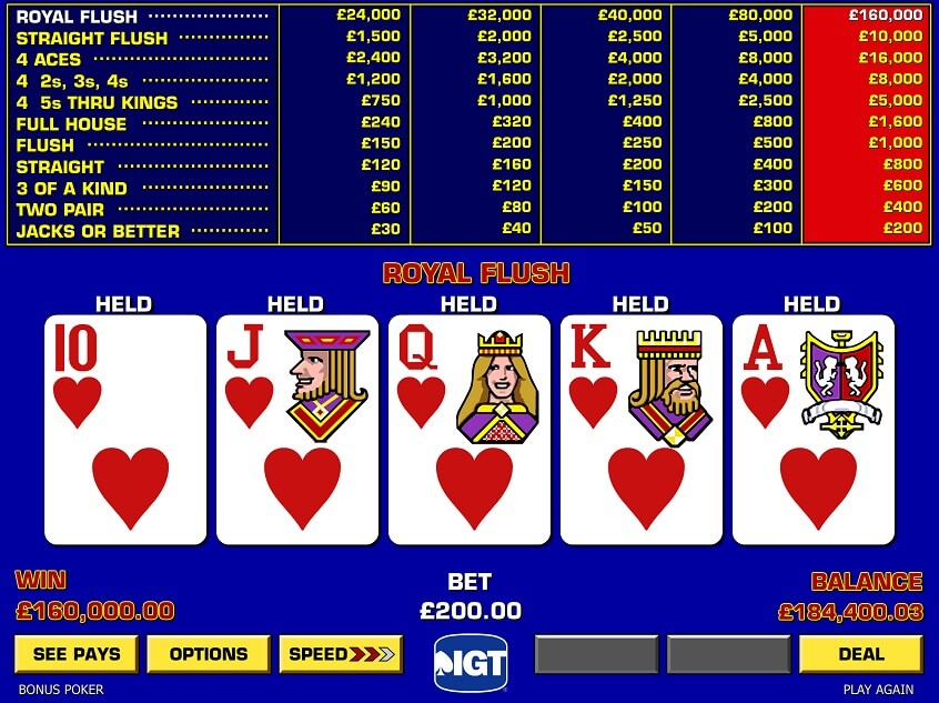 Screenshot of the game: Game King Bonus Poker