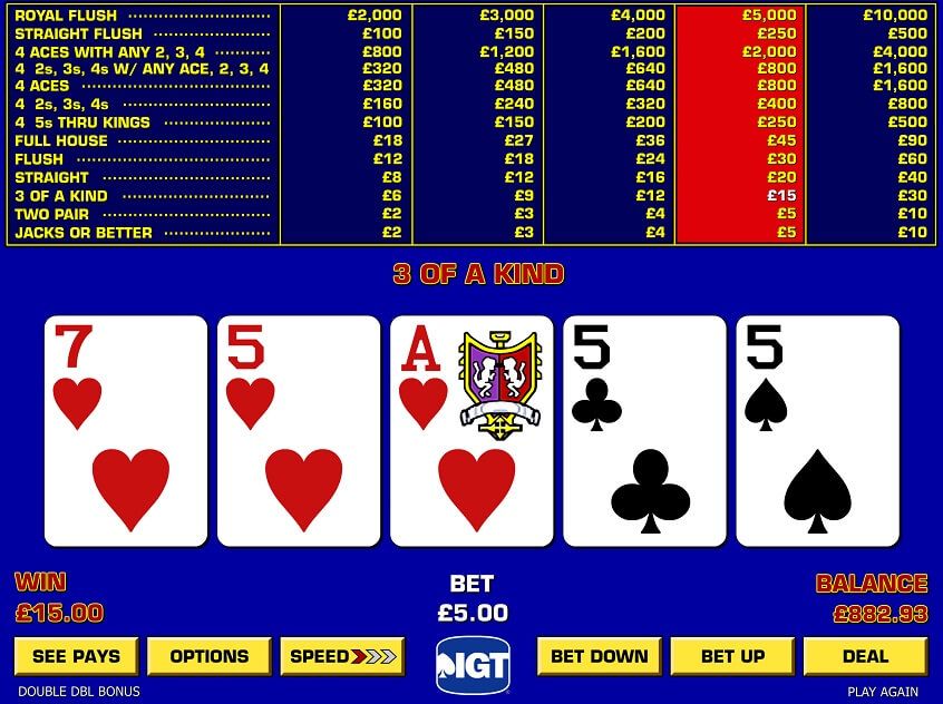 Screenshot of the game: Game King Double Double Bonus Poker