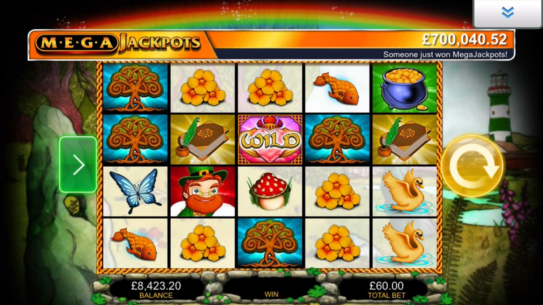 Here you can see a snapshot of the game: MegaJackpots Isle O'Plenty