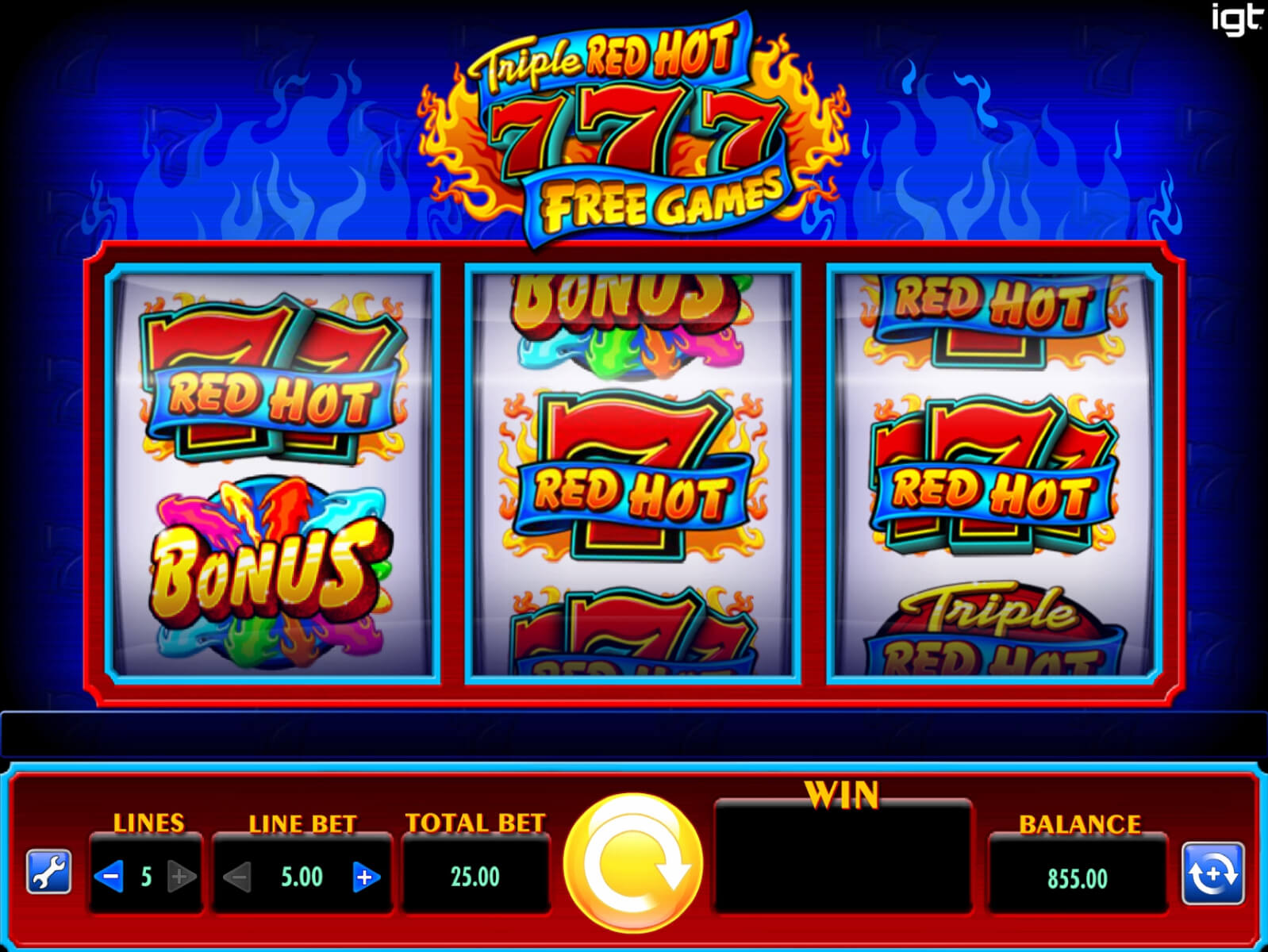 Screenshot of the game: Triple Red Hot 7s Free Games