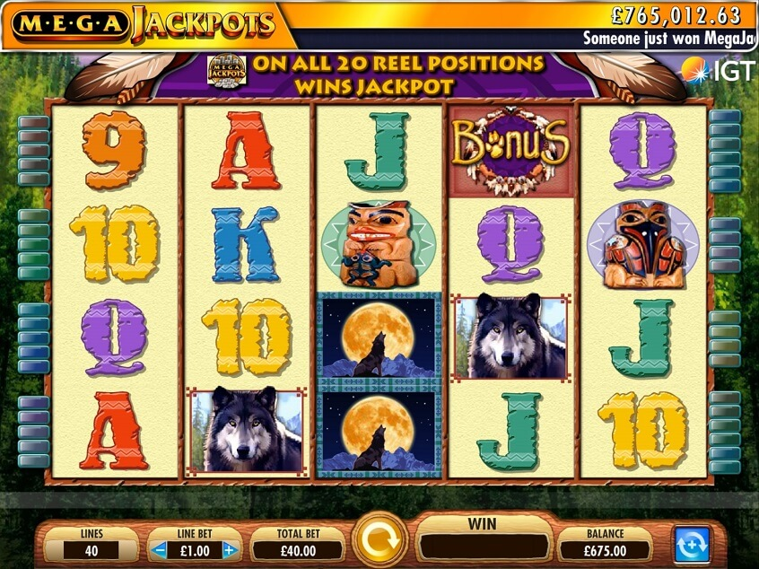 Screenshot of the game: MegaJackpots Wolf Run