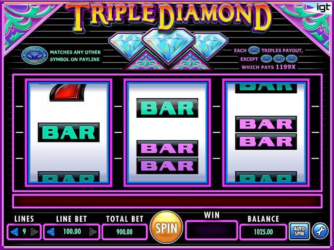 Triple diamond slots machine