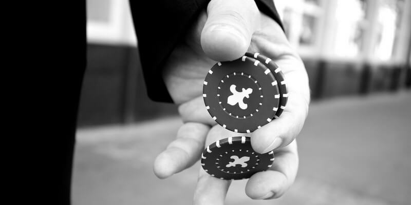 Casino chips in hand