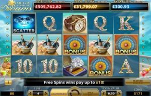 Screenshot of the Mega Fortune Dreams slot machine