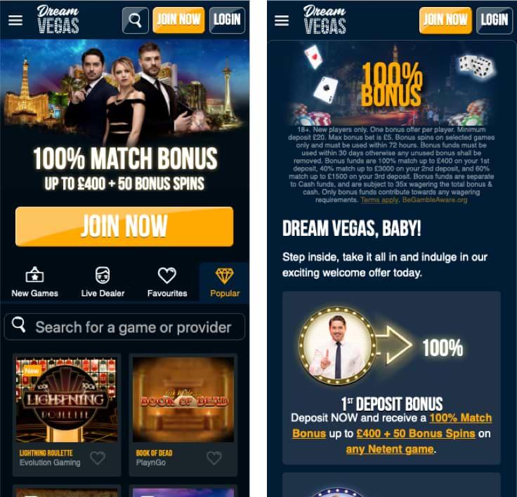 Screenshots Dream Vegas - Mobile friendly