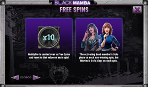 The features of the free spins on Black Mamba
