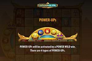Power-Ups on Golden Glyph slot machine