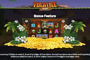 Free spins on Volatile Slot