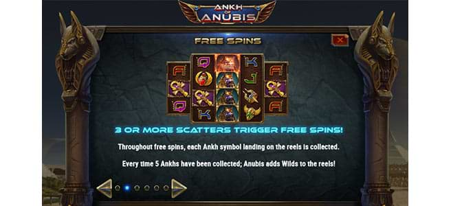 Ankh of Anubis slot game free spins