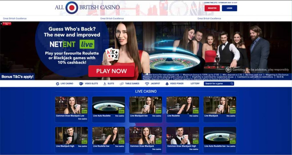 All British Casino Live Casino Games Page Screenshot