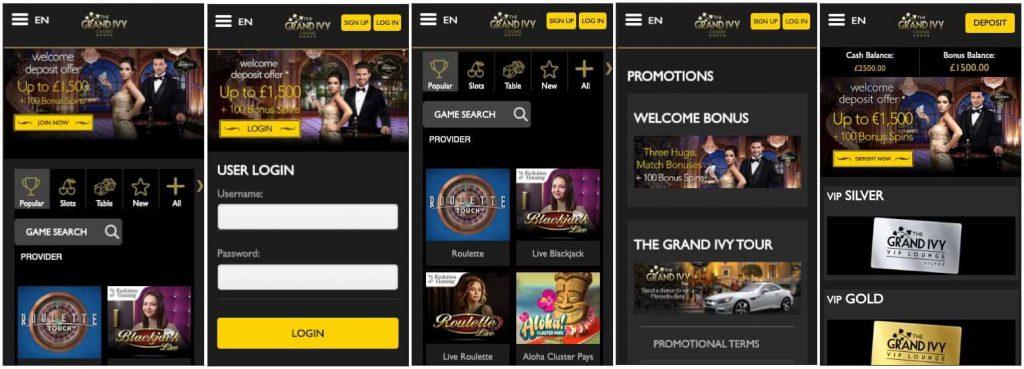 The Grand Ivy Casino - Mobile Screenshot