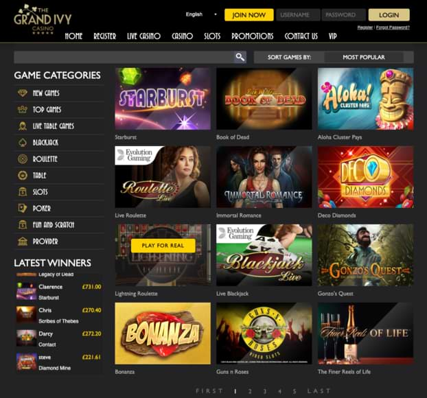 The Grand Ivy Casino - Online Games Slots