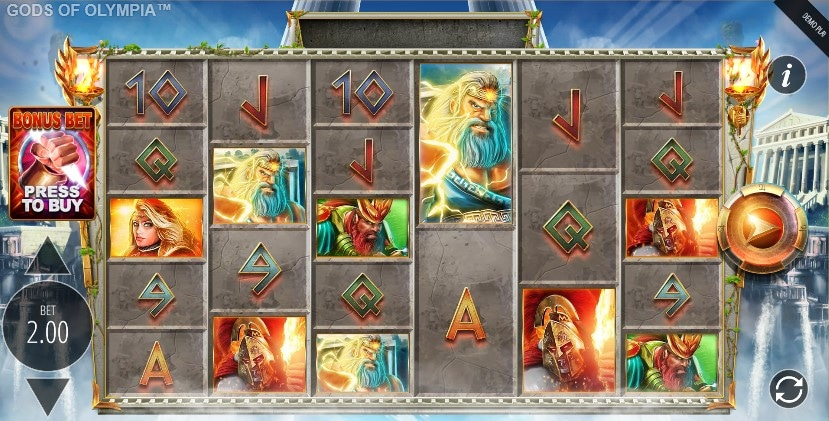 Gods of Olympia slot screen start