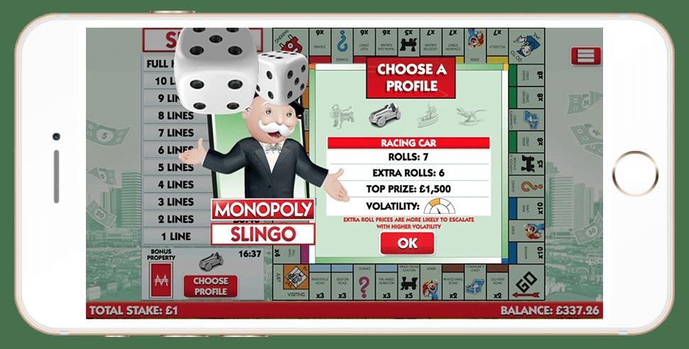 Volatility level choice in Monopoly Slingo