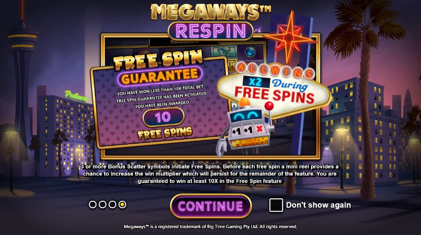 Megaways™ Respin free spins feature