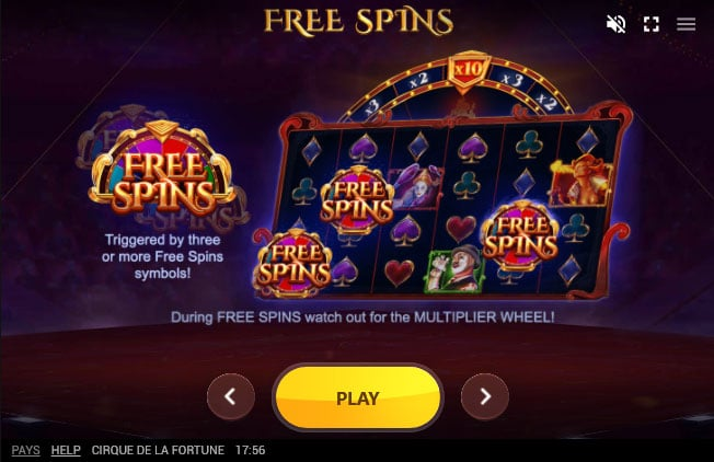 Cirque de la Fortune free spins feature