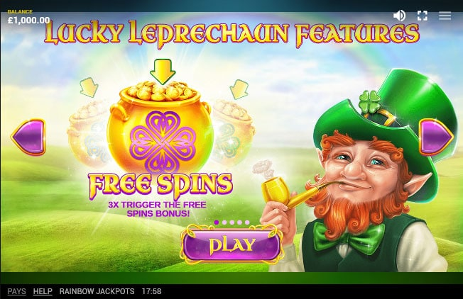 Rainbow Jackpots free spins feature
