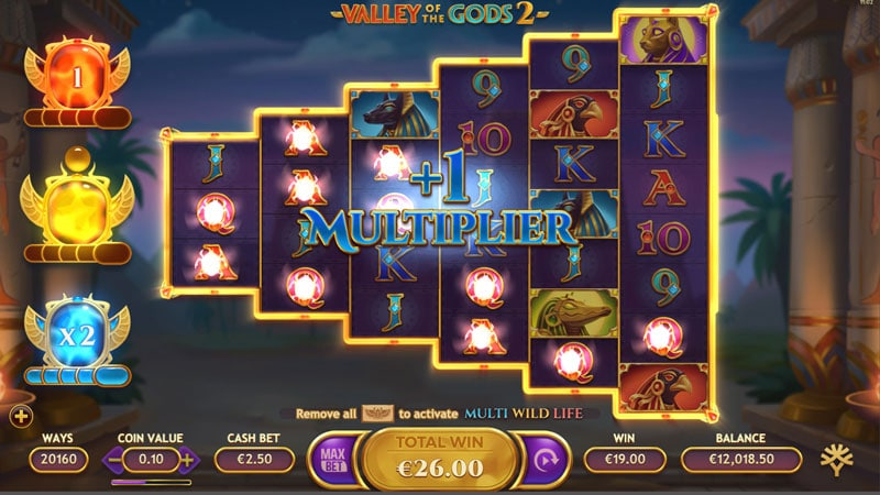 Valley of the Gods 2 multiplier feature