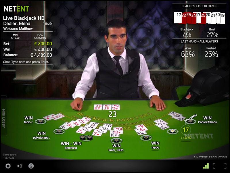 Live blackjack screenshot