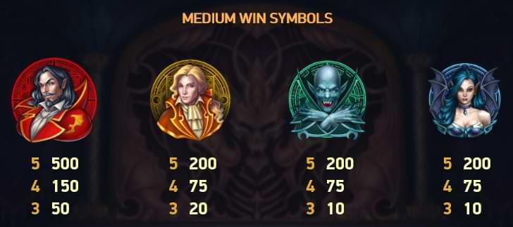 Blood Suckers II Medium Win Symbols